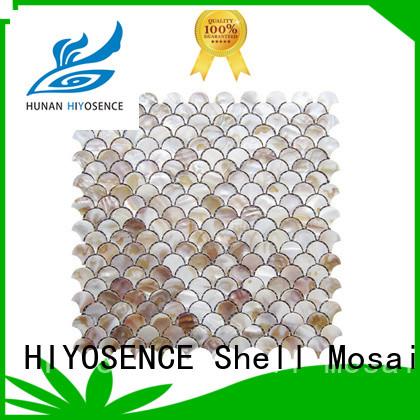 HIYOSENCE mother of pearl herringbone tile marketing for swimming pool