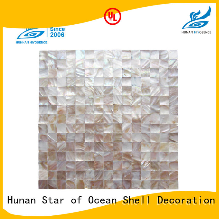 HIYOSENCE natural Fan-shaped shell mosaic tile factory price for toilet
