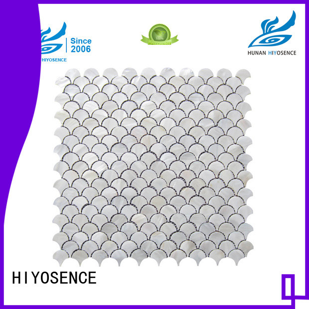HIYOSENCE inexpensive white hexagon pearl shell tile for swimming pool